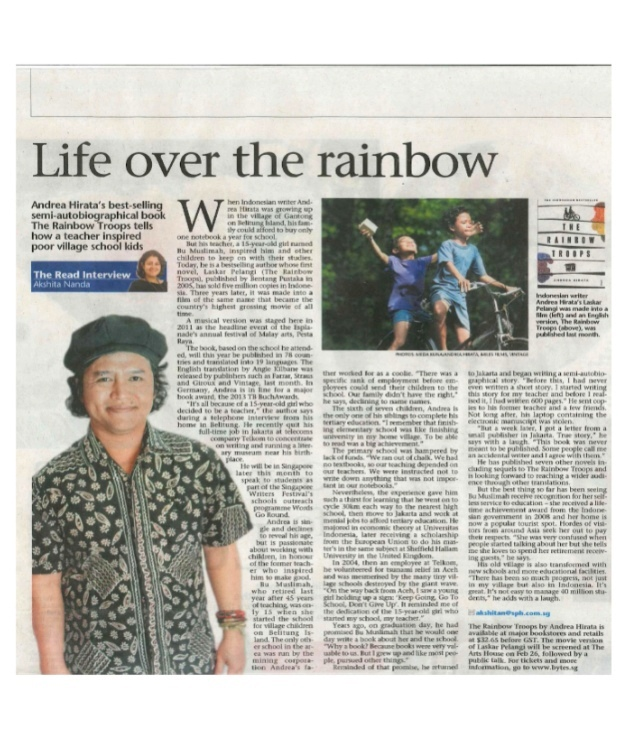 Andrea Hirata on Strait Times Newspaper, Singapore 25 February 2013